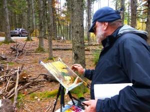 Schilderen in het bos bij Arc de l amour